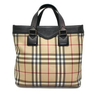Auth Burberry PVC plastic house check tote bag